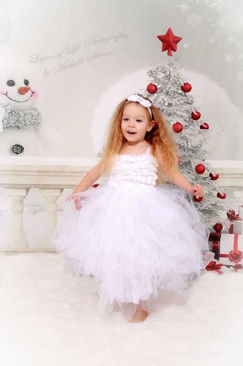 White Christmas dress ages 1-7 years
