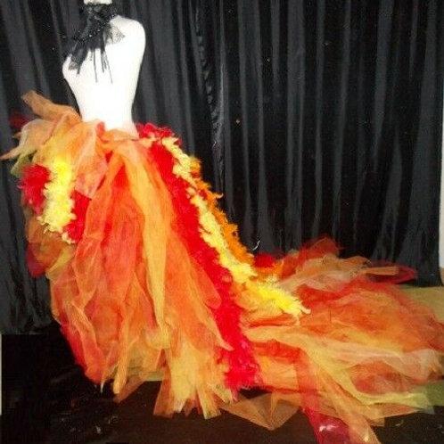 Extra Long Orange Yellow Red Burlesque Performer Dancer Drag Tutu Tulle Skirt