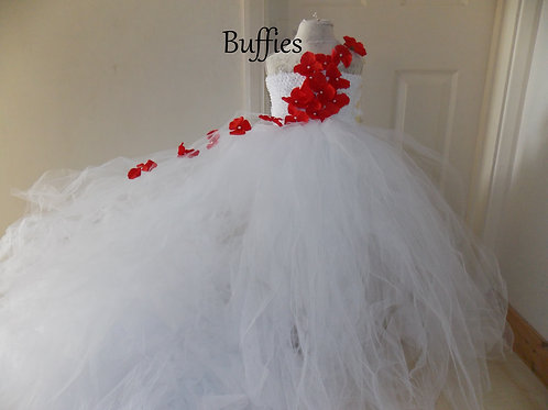 Long trailing White tulle dress