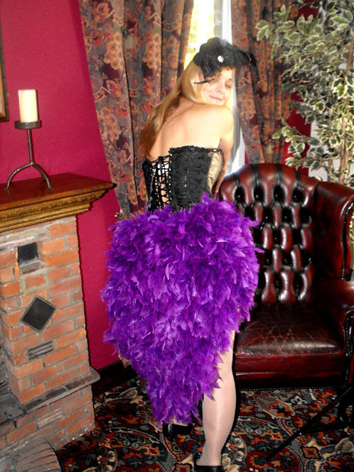Feather waterfall bustle Purple
