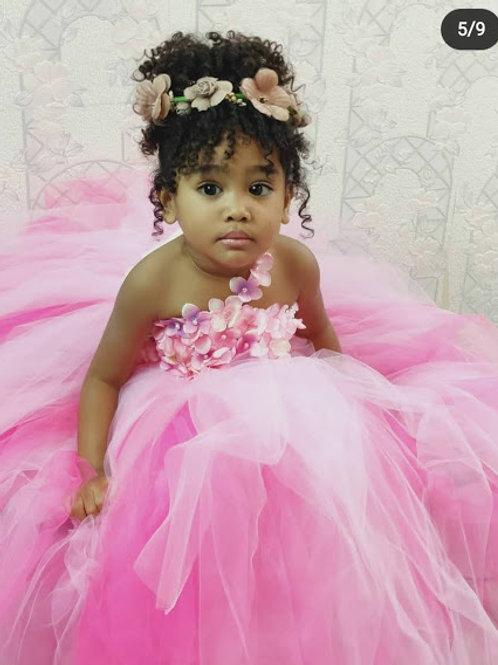 Girls dress Pink Kids Princess Wedding Party Flower baby