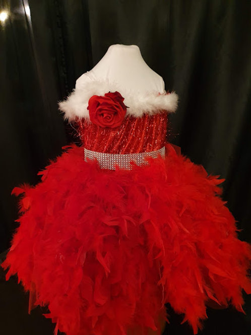 Girls santa dress with feathers and sparkle 1-7 Years