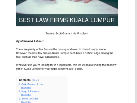 9 BEST LAW FIRMS IN KUALA LUMPUR. WE ARE  NO.7