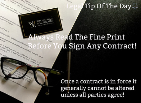 ALWAYS READ THE FINE CONTRACT
