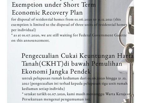 RPGT Exemption / Pengecualian CKHT - 01.06.2020 - 31-12-2021