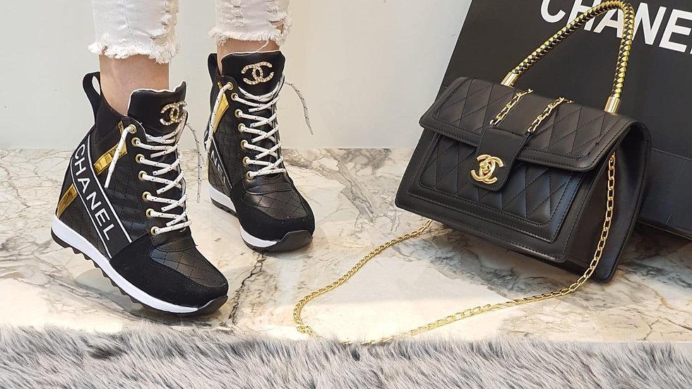 Channel wedge sneaker boots