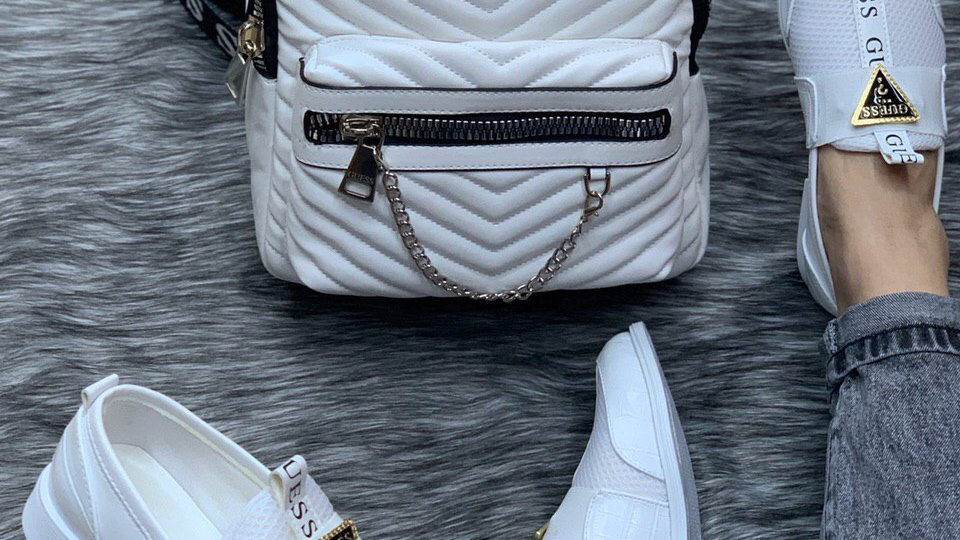 Guess white Back pack set