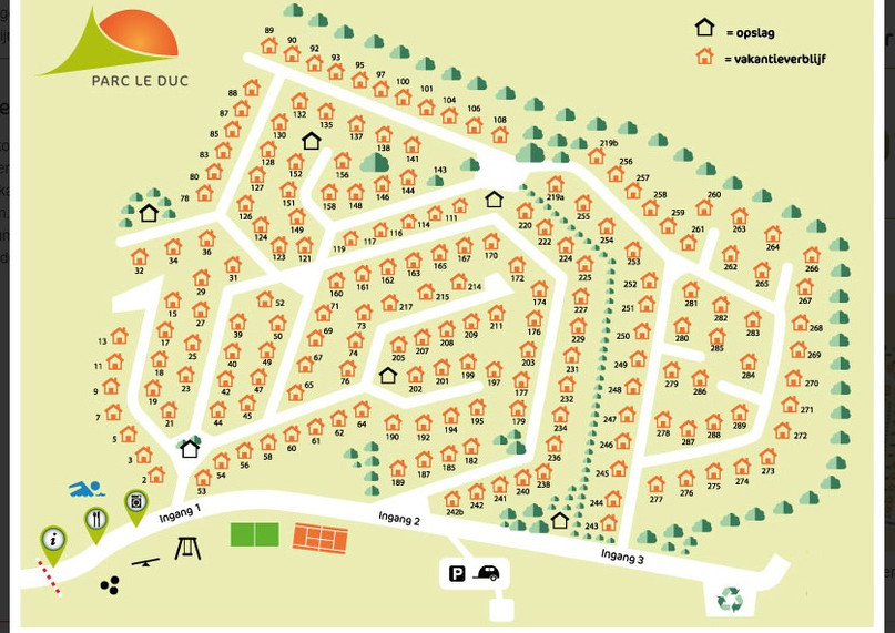 Plattegrond Parc le Duc