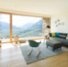 Chalet Wohnraum Aussicht Meran Dorf Tirol