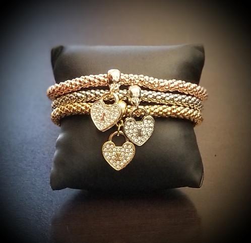 Triple band heart pendant bracelet aloadofball Gallery