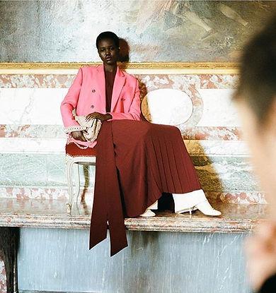 Adut Akech shot by fashion photographer Jürgen Teller for Valentino hautepunk collection in Chateau de Voisin