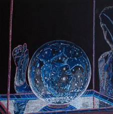 SPECTRE, 2020, mixed media on wood, 61 x 61 cm