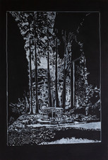 FOUNTAIN, 2020, mixed media on wood, 61 x 121 cm