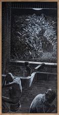 MOON, 2020, mixed media on wood, 61 x 121 cm
