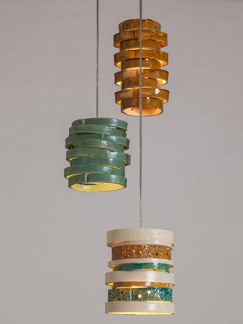 מנורת פסים דבש טורקיז