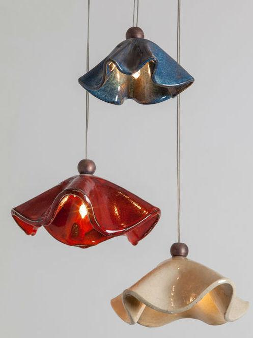 מנורת פרחי קרמיקה