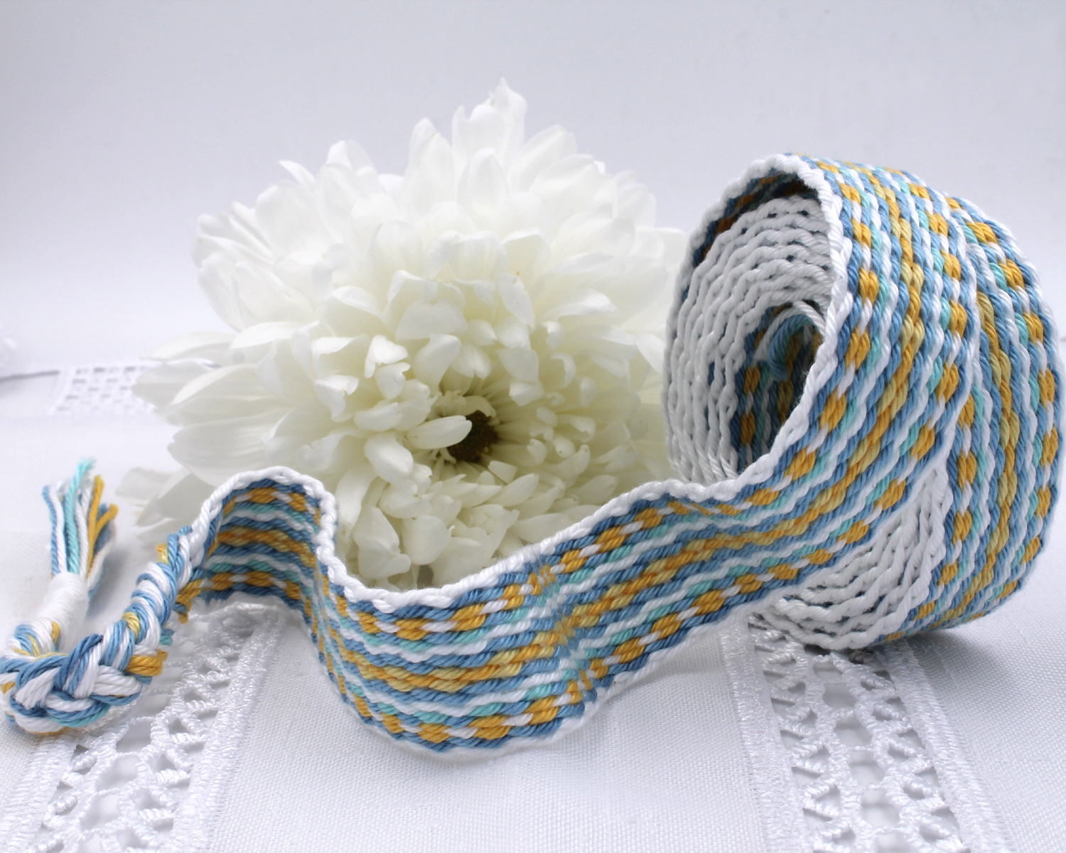Handfasting Cord -Baby Blue & Yellow (3)