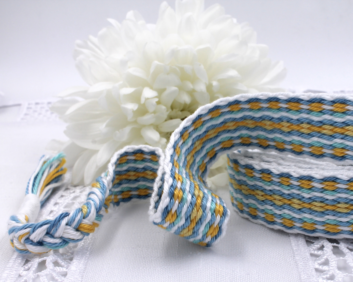 Handfasting Cord -Baby Blue & Yellow (2)