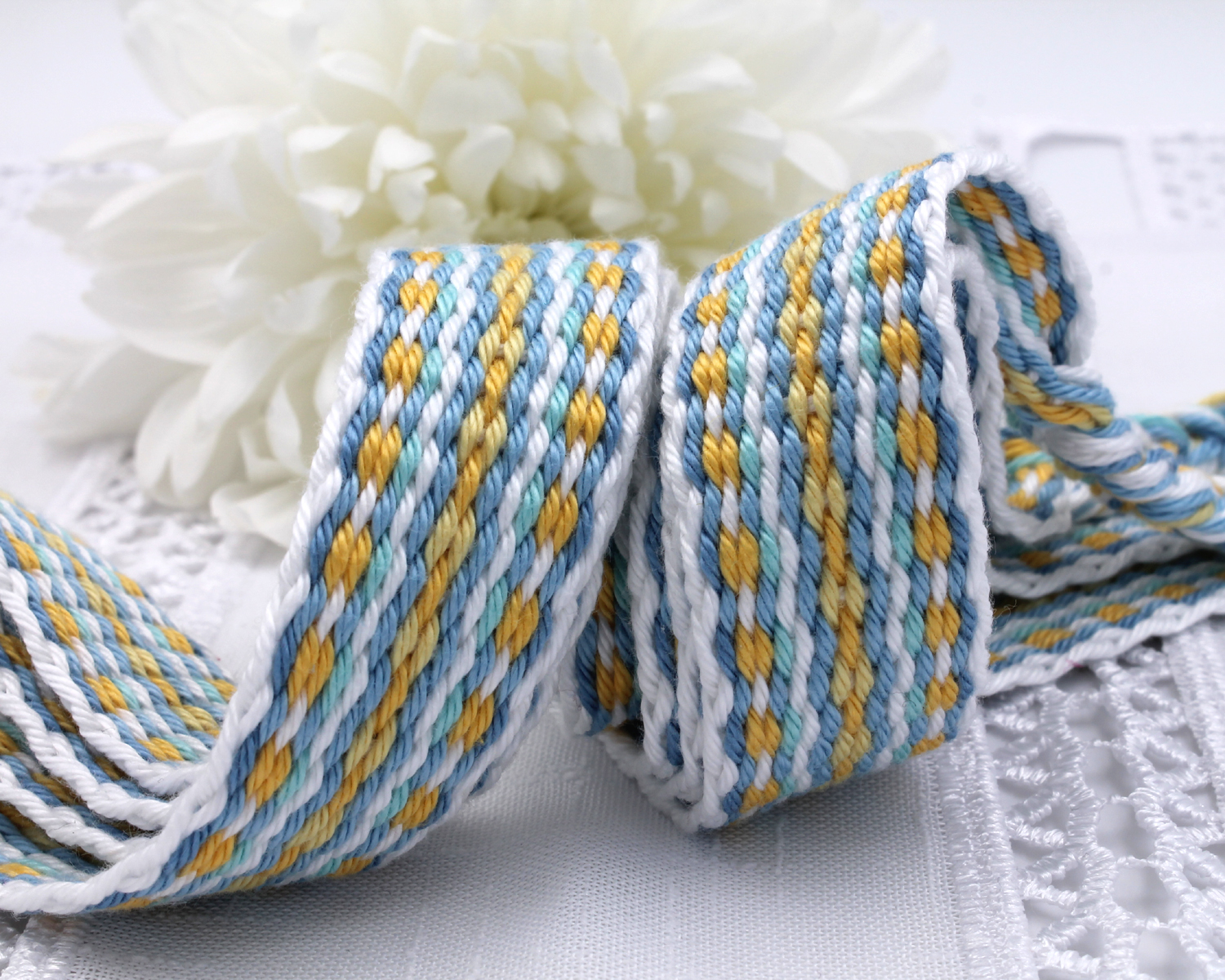 Handfasting Cord -Baby Blue & Yellow (9)