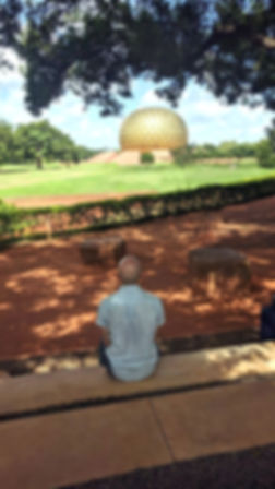 Spiritual Teacher Mani sitting at Auroville