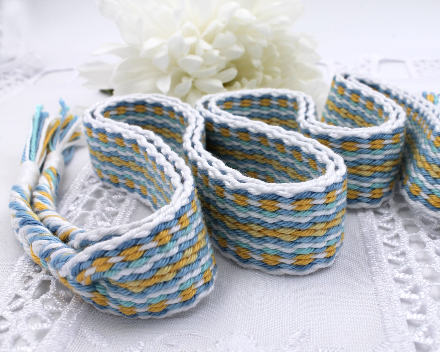 Handfasting Cord -Baby Blue & Yellow (5)