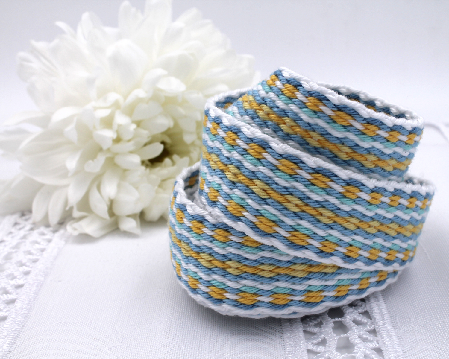 Handfasting Cord -Baby Blue & Yellow (6)