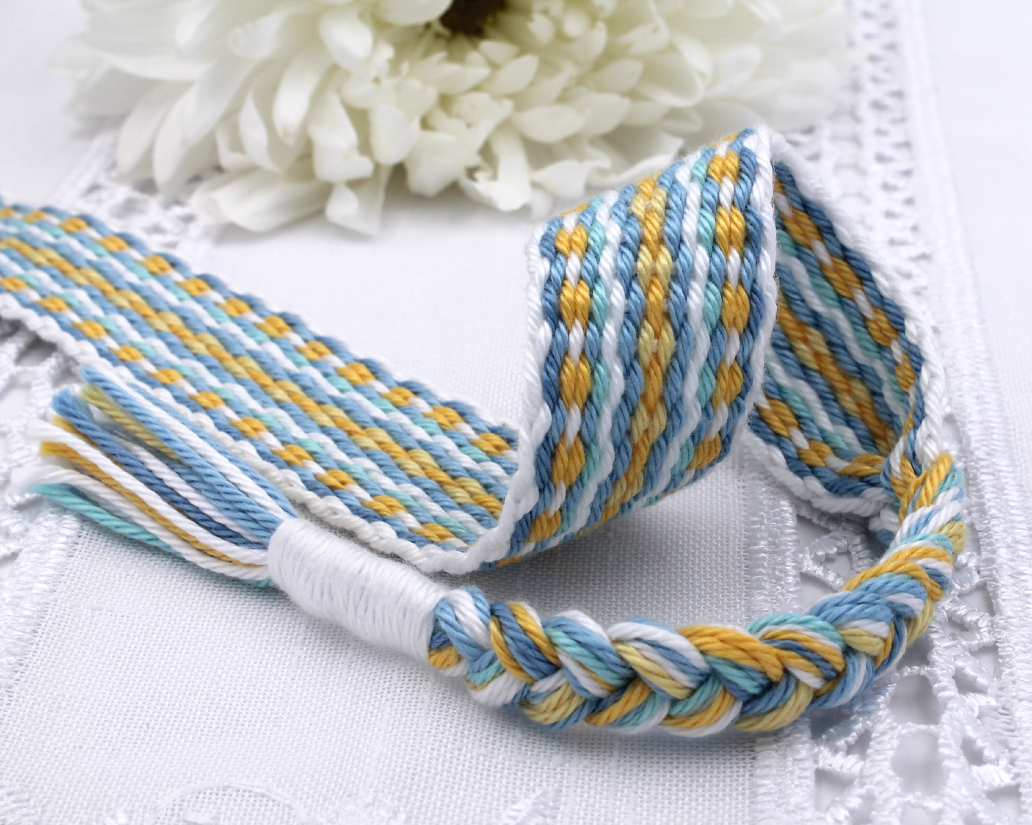 Handfasting Cord -Baby Blue & Yellow (4)