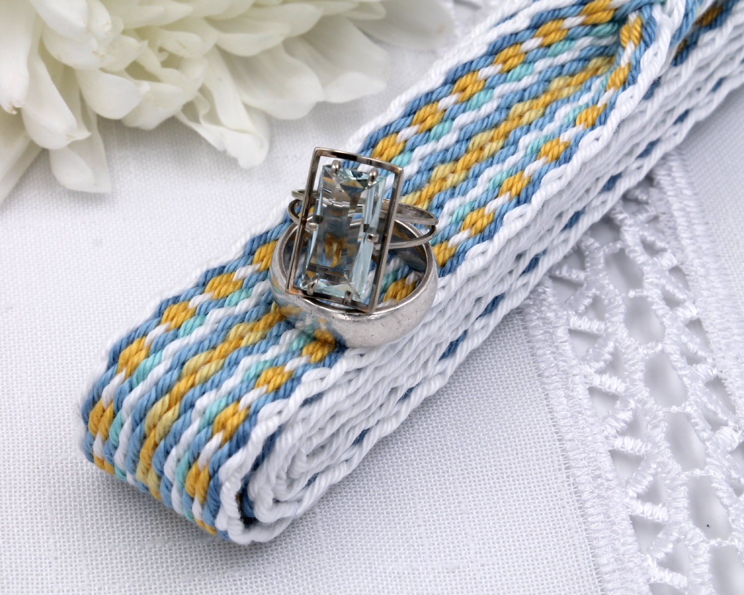 Handfasting Cord -Baby Blue & Yellow (8)