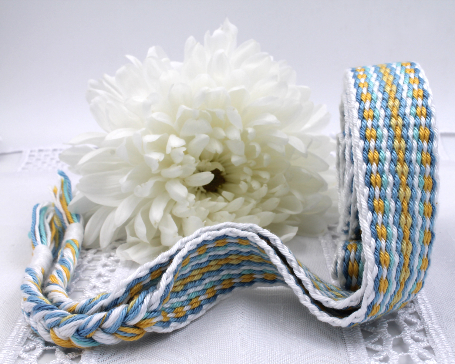 Handfasting Cord -Baby Blue & Yellow