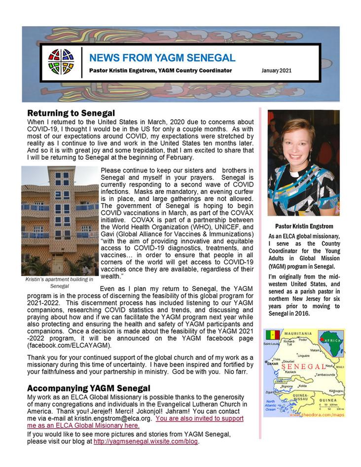 January Newsletter from Pastor Kristin