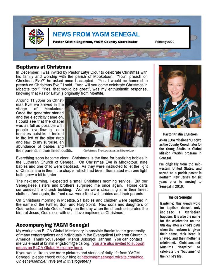 February Newsletter from Pastor Kristin