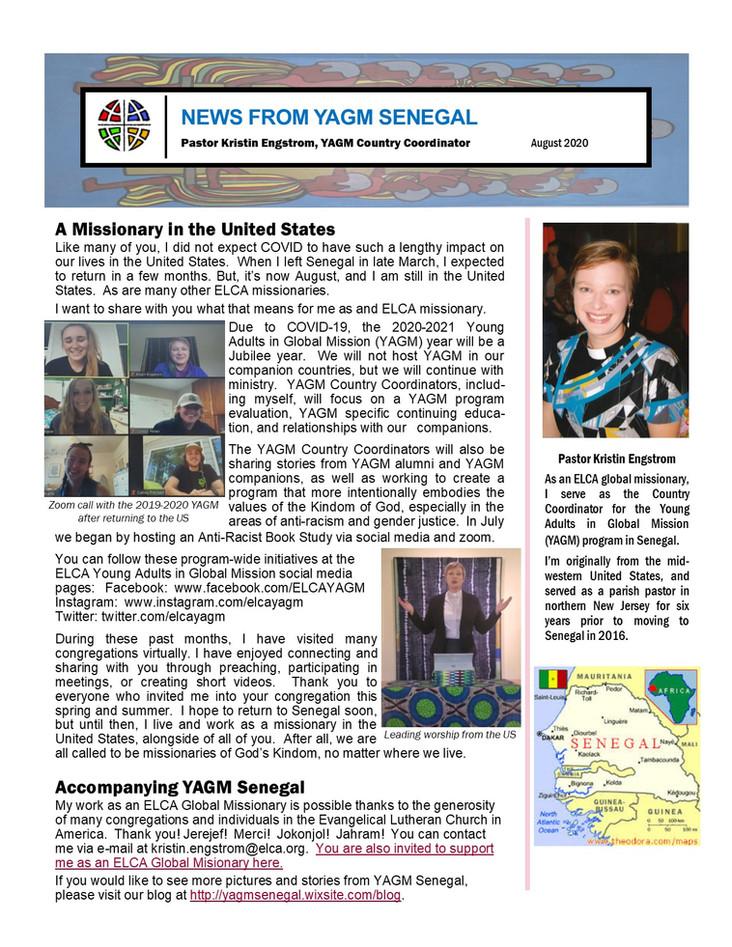 August Newsletter from Pastor Kristin