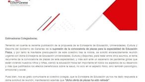 COLEFC INFORMA: Aprobada la Oferta de 51 Plazas previstas para EF, Oposiciones 2021