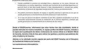 COLEFCanarias informa: COMUNICADO sobre restricciones en Tenerife