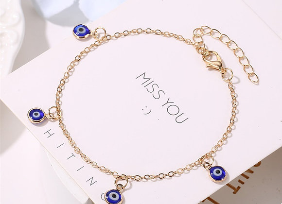 EVIL EYE Gold Silver Color Ankle Bracelet