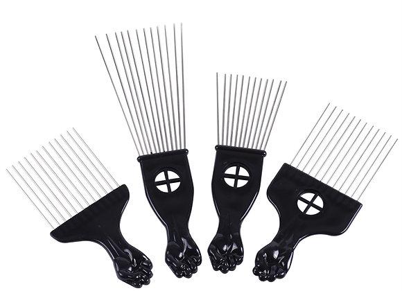 Black Metal African American Pick Comb