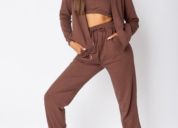 """Brown 3 Piece 'Chill"""" Hoody & Jogger Set"""