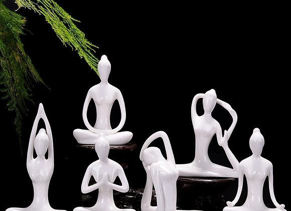 VILEAD  White Ceramic Yoga Figurines