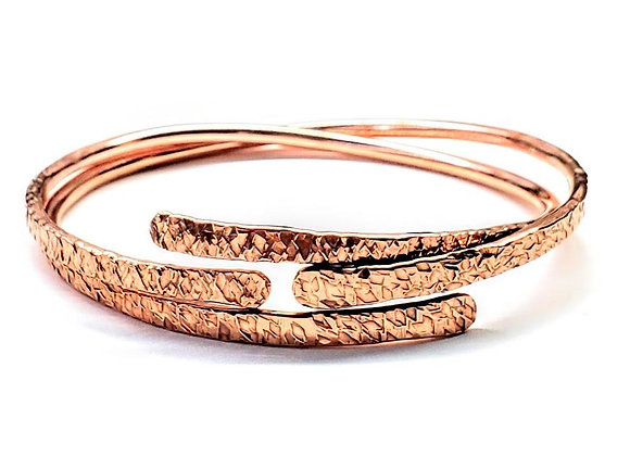 Adjustable Hammered Copper Overlap Bangle
