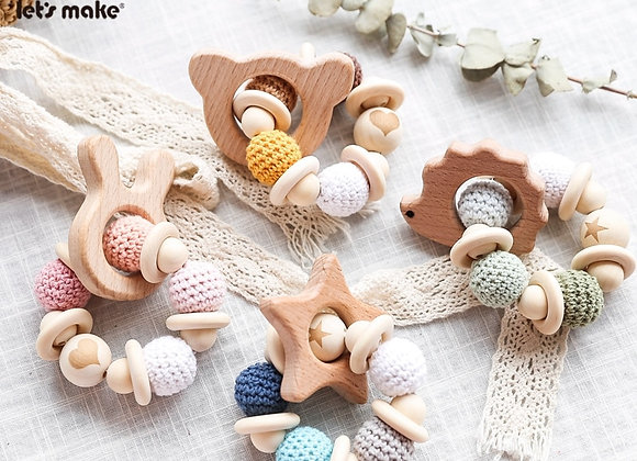 1PC Wooden Crochet Bead Baby Teether