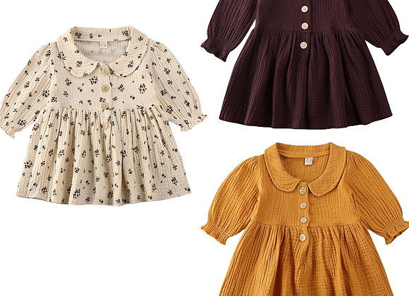 0-4y Vintage Toddler Baby Girls Dress Flower Long Sleeve Dress