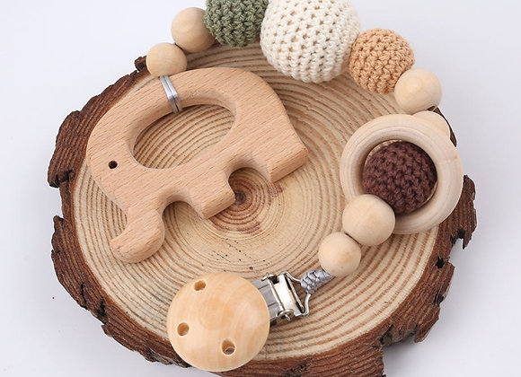 1PC Baby Wooden Teether Pacifier Clip