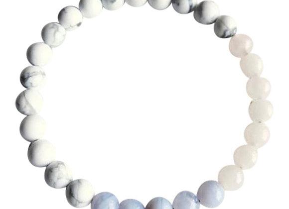 Rose Quartz, Blue Lace Agate & White Howlite Bracelet