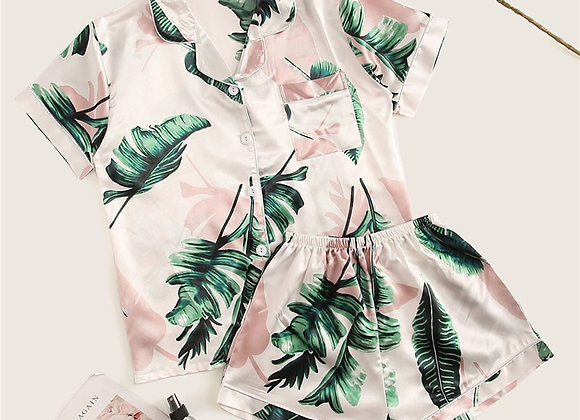 SHEIN Tropical Print Satin Pajama Set