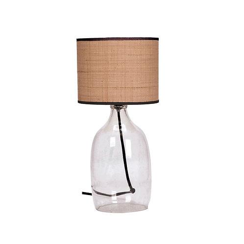 Lampe en verre blanc raphia
