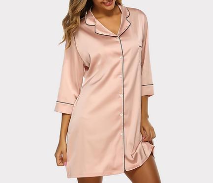 Champagne Silk Shirt Dress
