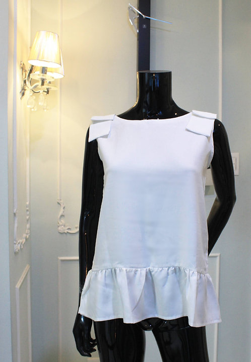 Sleeveless white bow-shoulder top