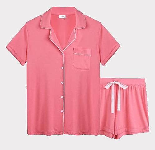 Salmon Bamboo Viscose Cotton Pyjama Shorts Set