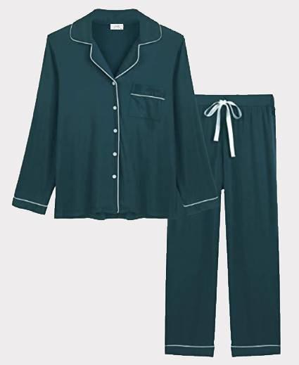 Teal Green Bamboo Viscose Cotton Pajama