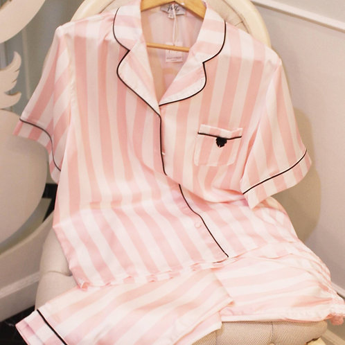 Pink Striped Silk Pajama set